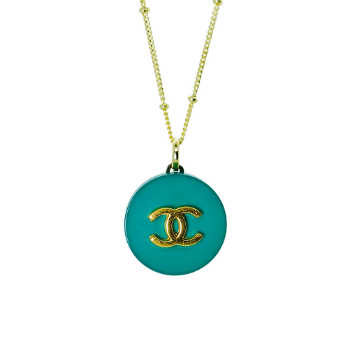 TEAL CLASSIC CHANEL BUTTON VINTAGE NECKLACE