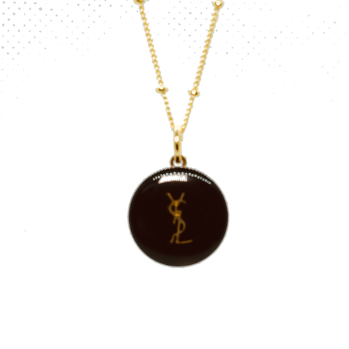 YSL BLACK & GOLD BUTTON NECKLACE