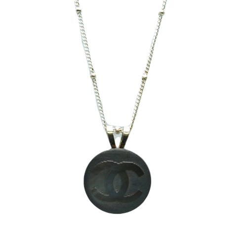 BROWN IRIDESCENCE VINTAGE CHANEL BUTTON NECKLACE