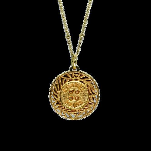 BRUSHED GOLD VINTAGE  BUTTON NECKLACE