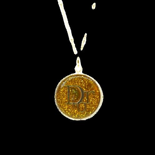 BRIGHT GOLD VINTAGE BUTTON NECKLACE
