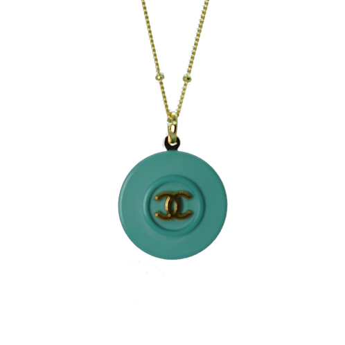 GOLD  & SEA GREEN CHANEL BUTTON VINTAGE NECKLACE