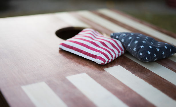 American Flag cornhole boards with bean