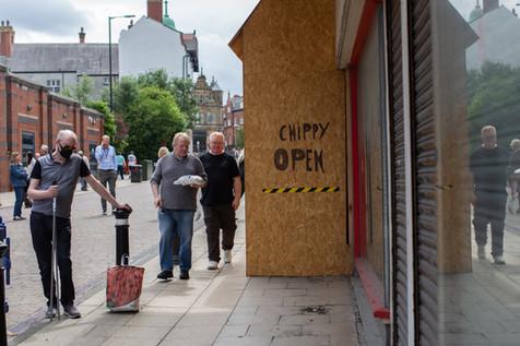 Wigan high street as shops begin to re-open.