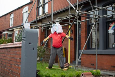 A Royal Mail scarecrow, Billinge