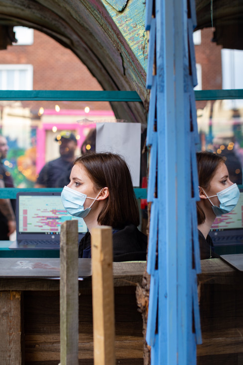 A waitress at Birdies Bar, Liverpool.