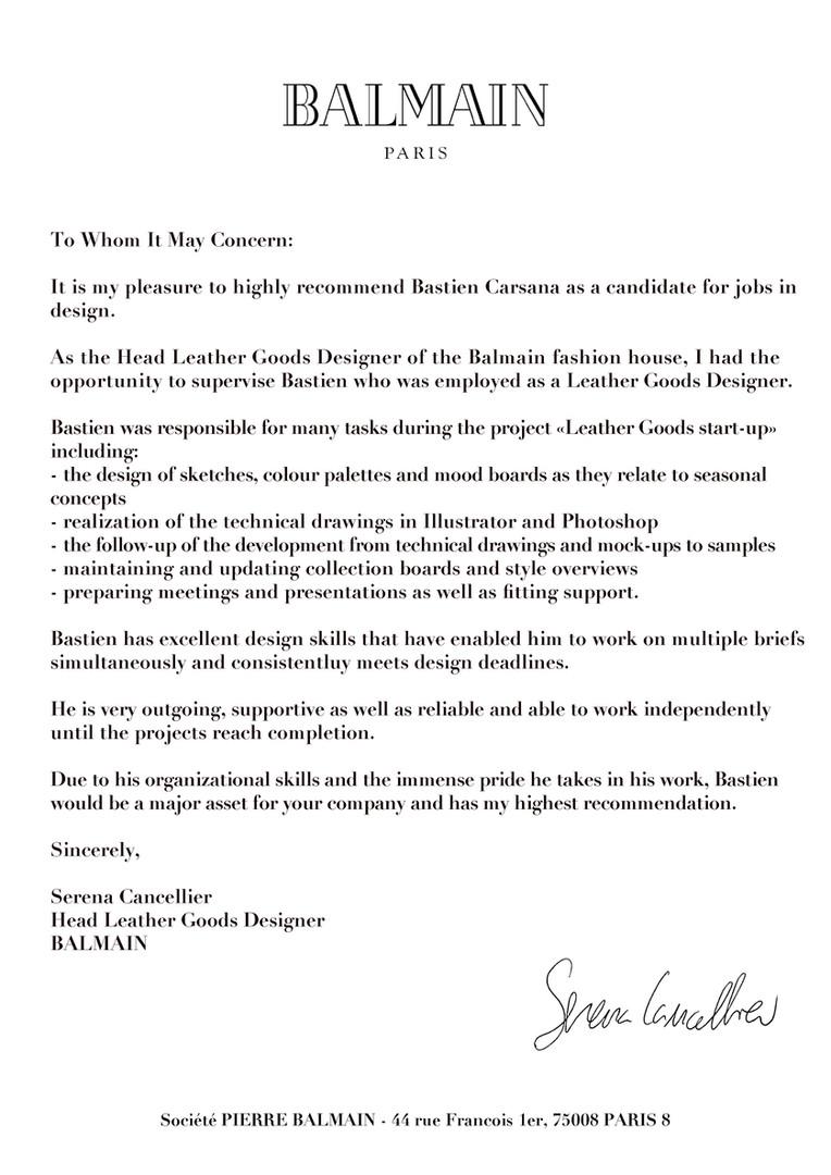 Balmain - Recommendation Letter
