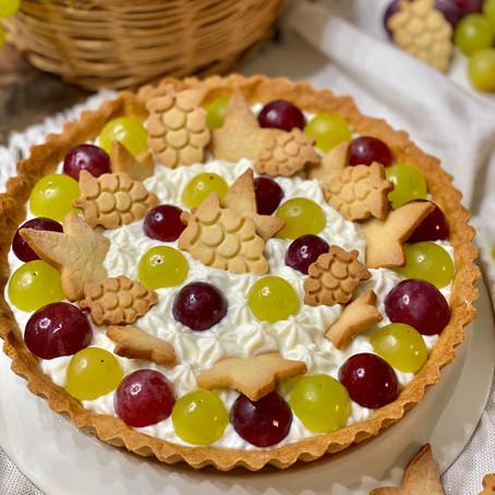 Crostata con Crema di Ricotta e Uva con Frolla all'Olio d'Oliva
