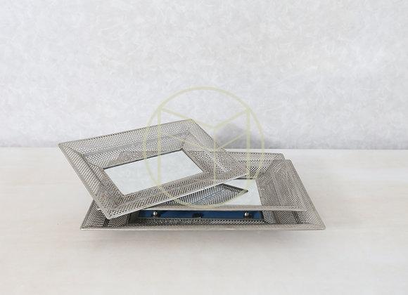 Bandeja Prata Renda Retangular fundo Espelho (jogo com 3)
