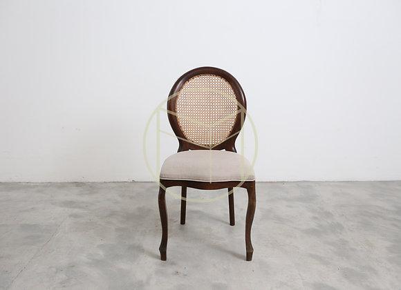 Cadeira Medalhão em madeira Imbuia linho e palha