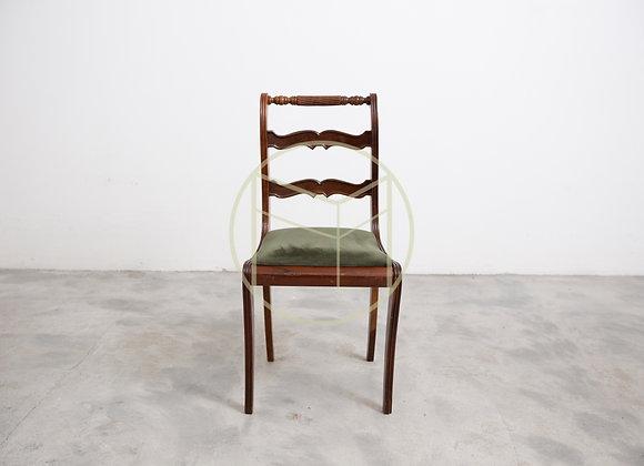 Cadeira Antiga Entalhada Madeira Imbuia Assento Veludo Verde