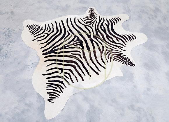 Tapete Couro Natural Zebra Preto e Branco G