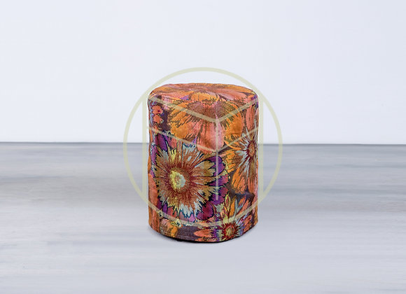 Pufe Redondo Capa Floral Tapeçaria