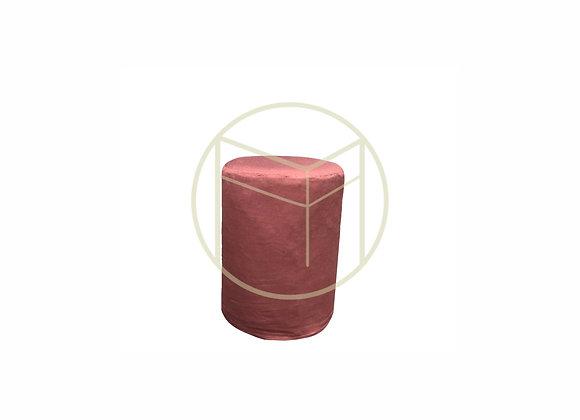 Pufe Redondo Capa Rosa Antigo