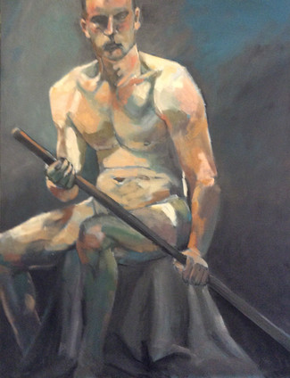Seated Male Nude with Stick