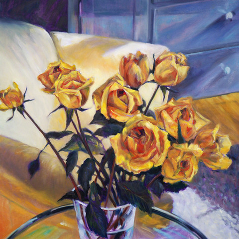 Interior with Yellow Roses