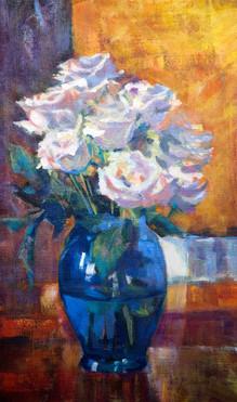 Roses in Blue Vase