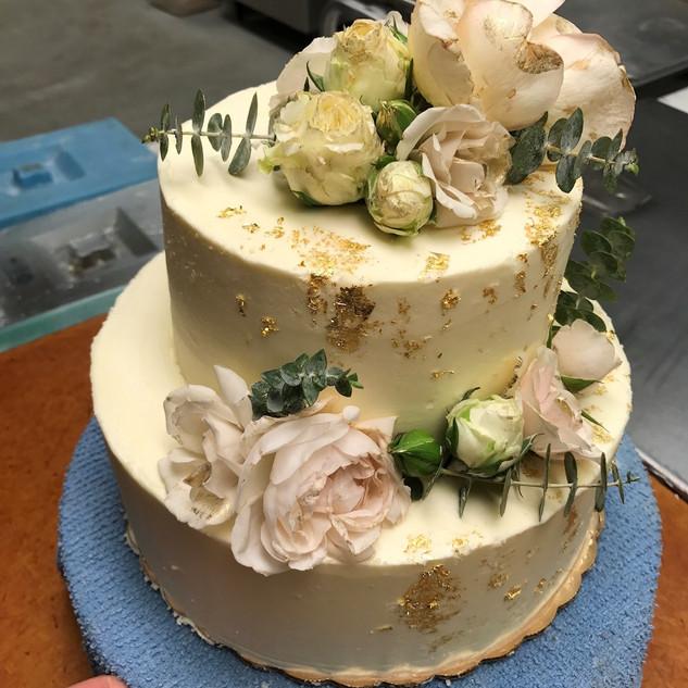 Gold Foil and Floral Cake.jpg