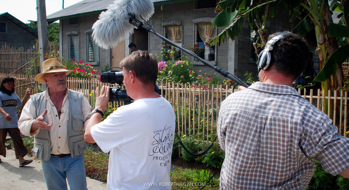 On set in the Philliphines filming 'Splash of Color'.