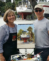 Fran Ellisor painting in Port Salerno, Fl with patron, Walter Kotrba