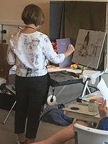 Fran Ellisor demonstrating at Joan for Art School