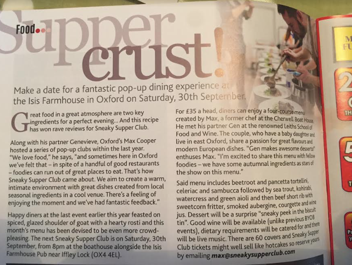 Sneaky Supper Club in Round and About magazine