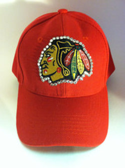 Blinged Out Blackhawks Hat Red
