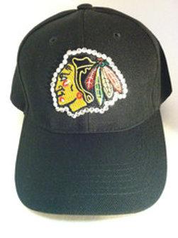 Blinged Out Black Blackhawks Hat