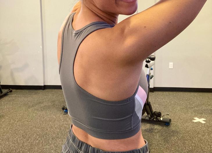 Gray Racerback Sports Bra with Pastel Stripe