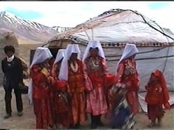 Women before yurt