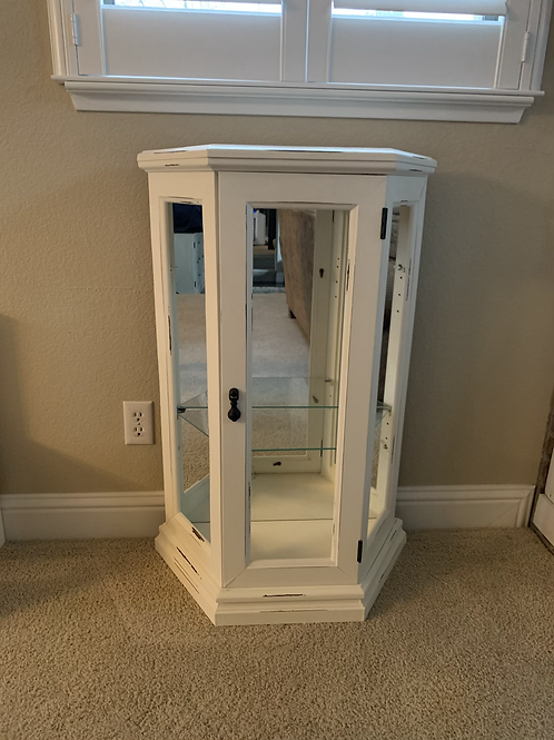 """White Cabinet Lightly Distressed 24"""" Wide X 37"""" High X 10 1/2"""" Deep"""