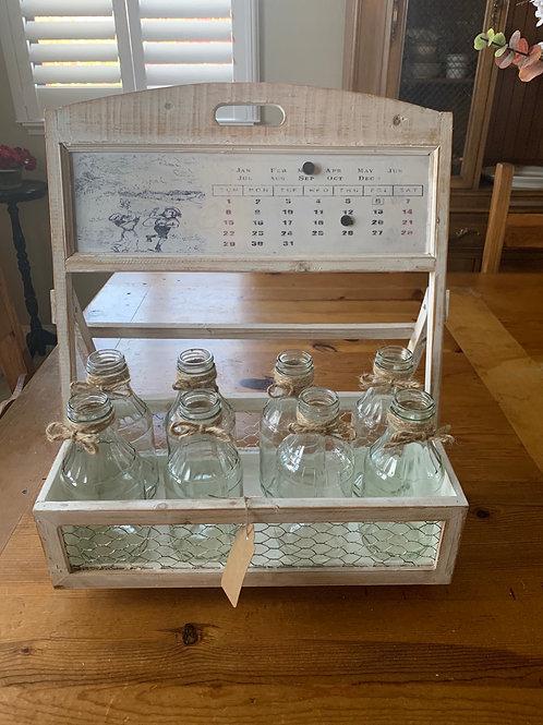 Calendar Crate W/ 8 Bottles