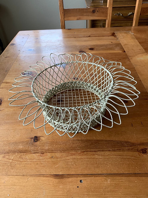 Vintage  Cream Wire Basket