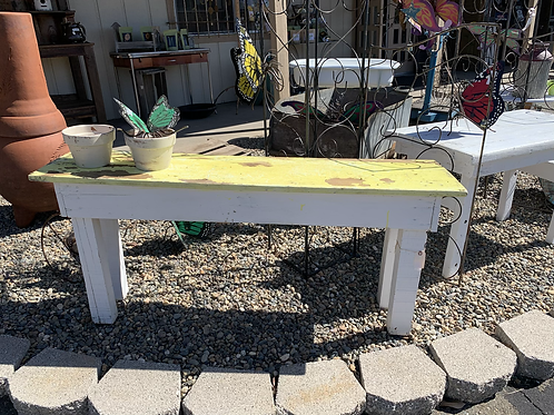 """SALE Yellow and White Potting Table 56 1/2"""" Wide X 14"""" Deep X 26 1/2"""" High"""