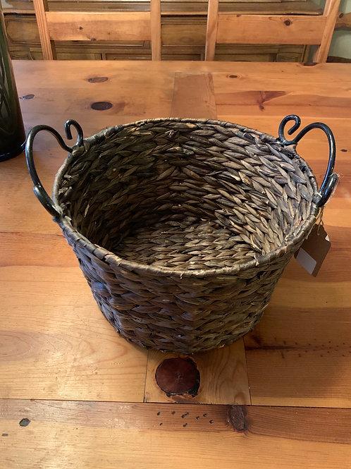 Woven Basket W/Metal Handles
