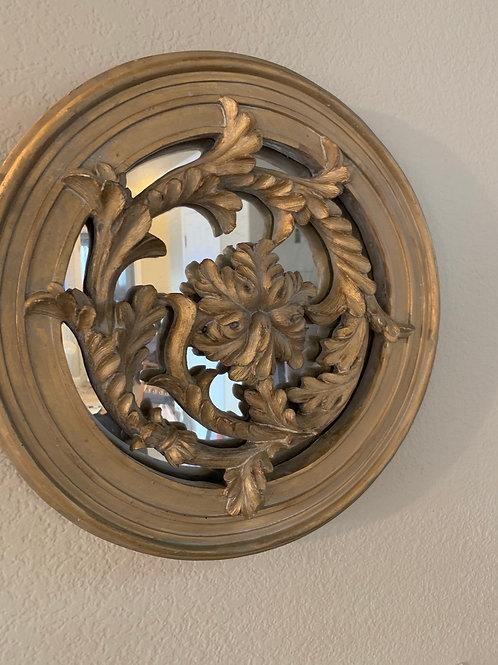Round Ornate Gold Mirror
