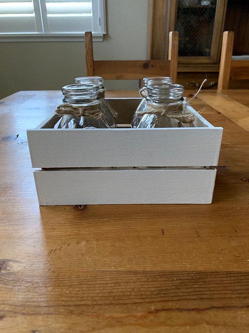 White Crate w/ 4 Jars