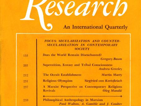 SECULARIZATION AND COUNTER-SECULARIZATION IN CONTEMPORARY SOCIETY / Vol. 37, No. 2 (Summer 1970)