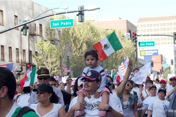 Mexican immigrants march for their rights in San Jose, 2006. Photo source: Wikimedia commons.