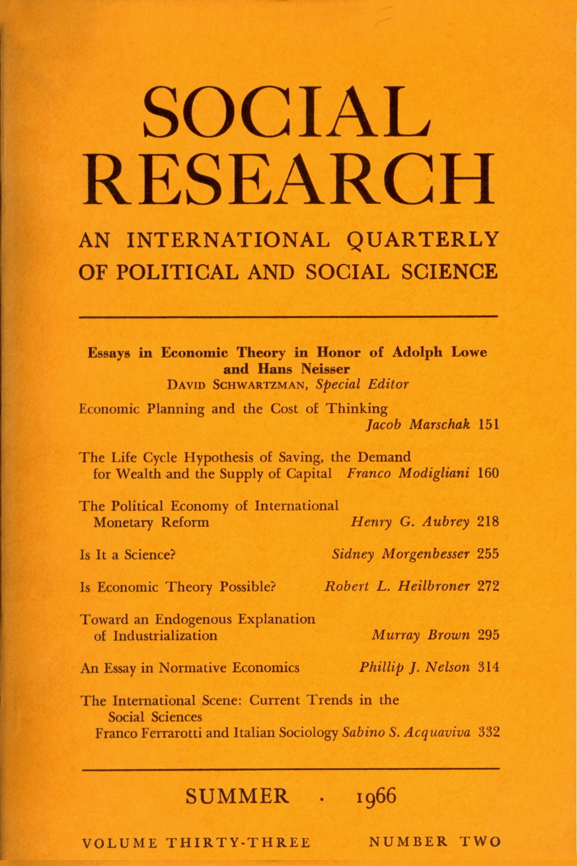 Essays In Economic Theory In Honor Of Adolph Lowe And Hans Neisser  Essays In Economic Theory In Honor Of Adolph Lowe And Hans Neisser  Vol   No  Summer   Social Research An International Quarterly