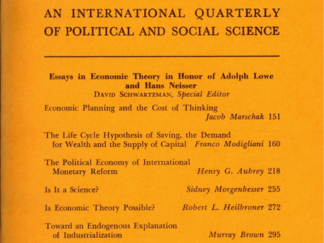 ESSAYS IN ECONOMIC THEORY IN HONOR OF ADOLPH LOWE AND HANS NEISSER / Vol. 33, No. 2 (Summer 1966)