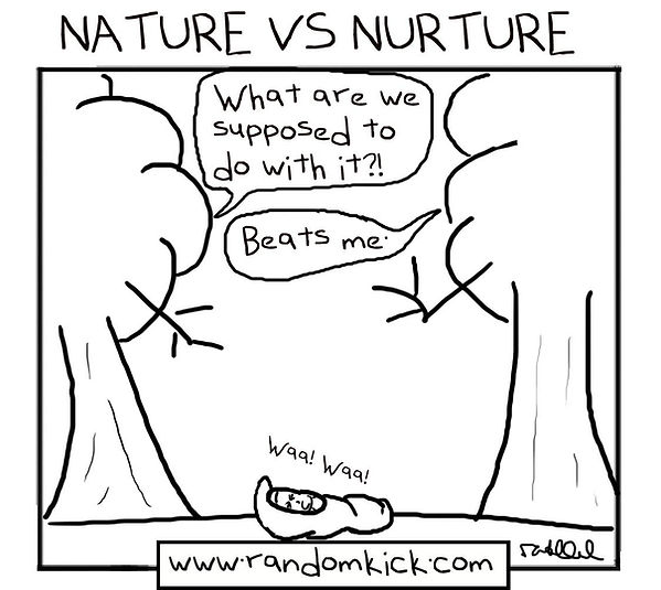Nature VS Nurture, Trees discussing how to take care of a baby
