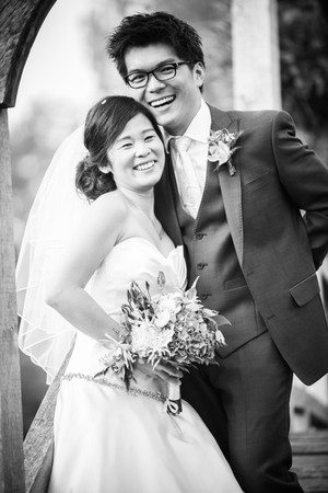 B&W portait of bride and groom