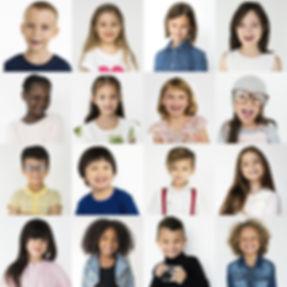 People Set of Diversity Kids Playful Stu