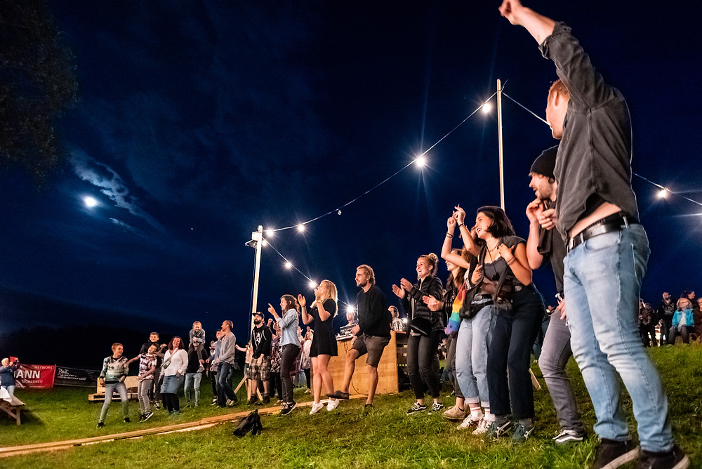 people, festival, party, night, moon, stars, natur
