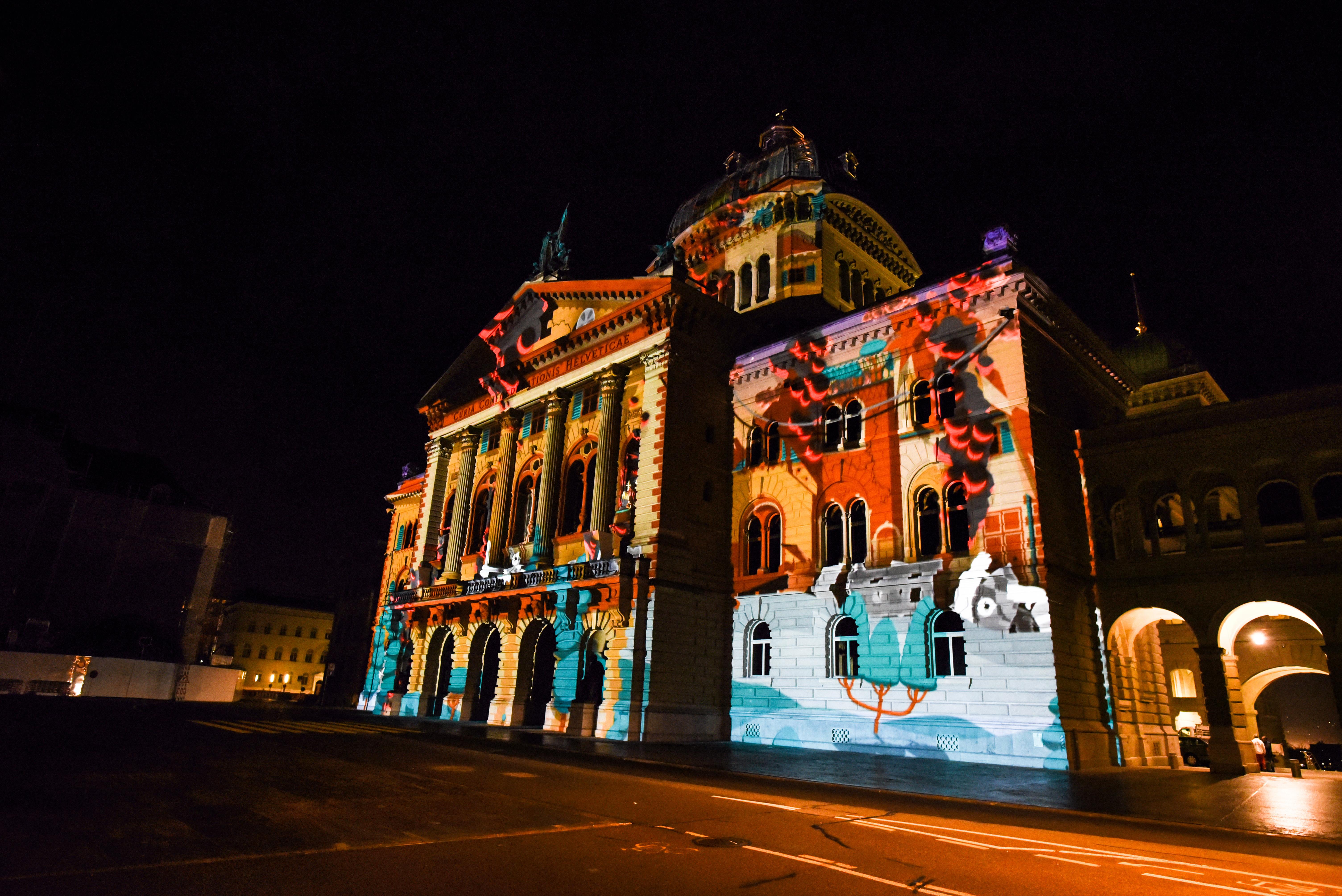 Lichtshow Bern Bundesplatz