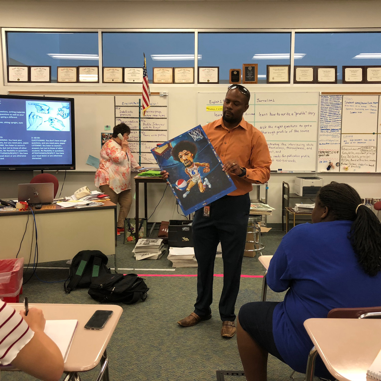 Mr. Rumph sharing his artwork