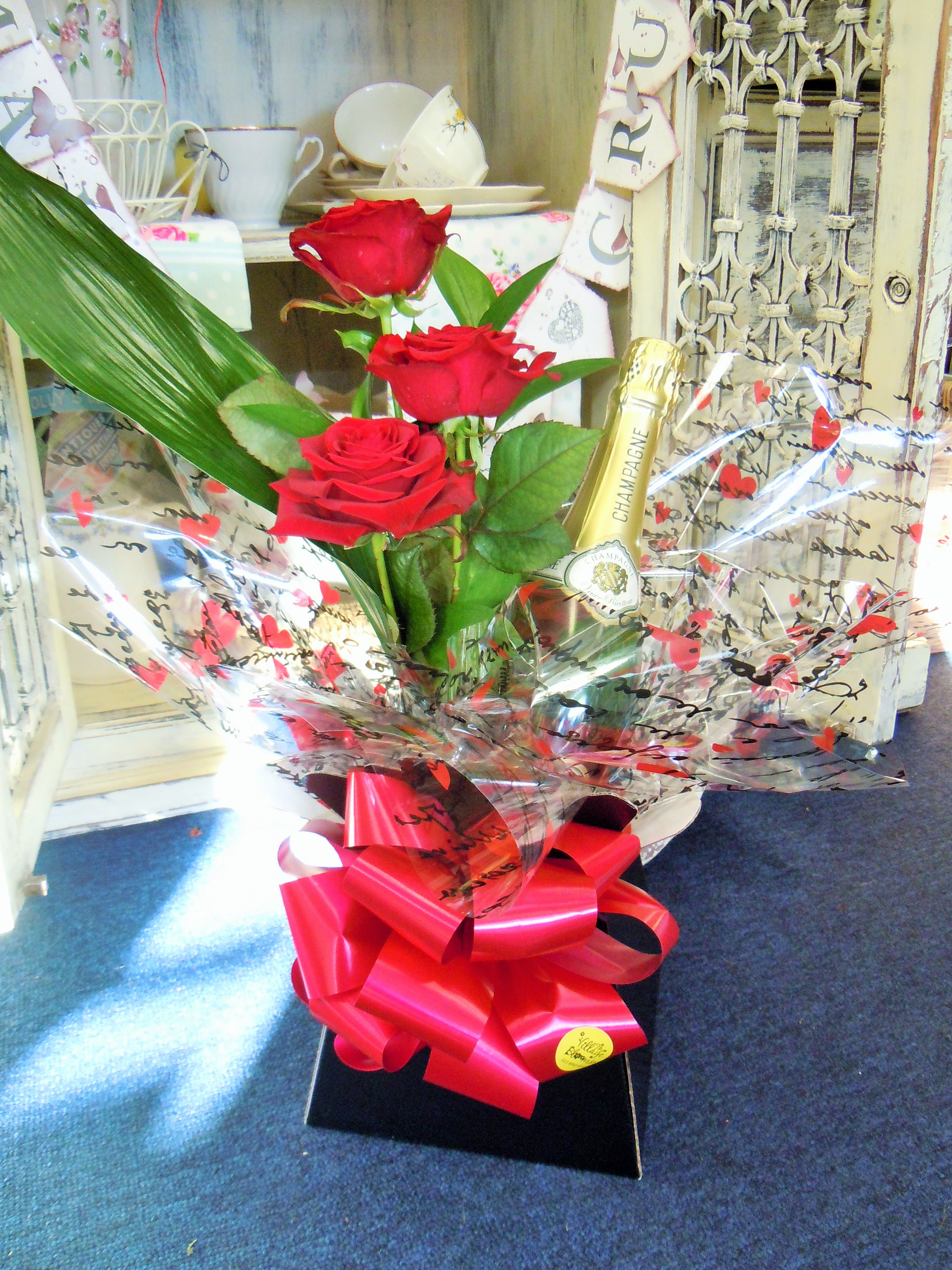 Gift Box Bottle and Roses
