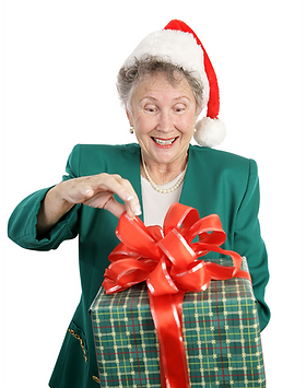 Elderly lady opening a gift photo scanning parcel