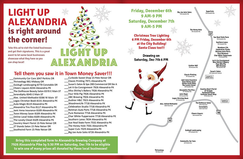 Light Up Alexandria flyer for Town Money